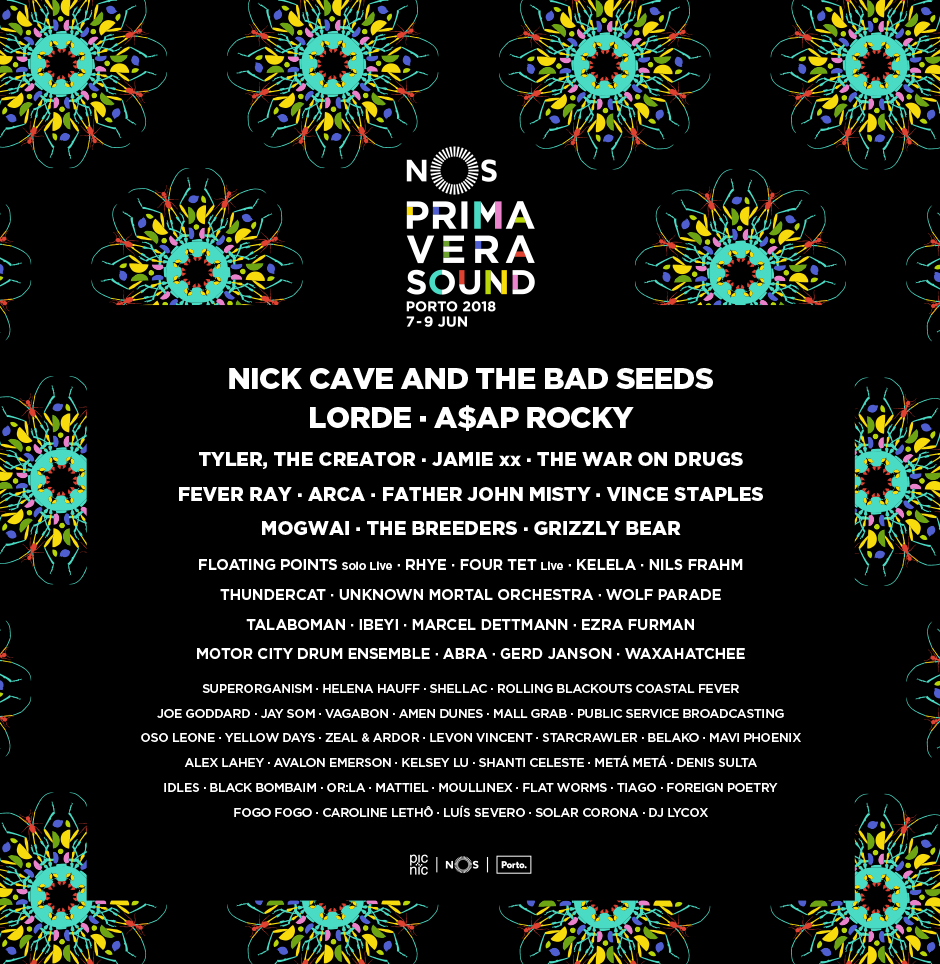 Nick Cave and The Bad Seeds, Lorde e A$AP Rocky encabeçam o cartaz do NOS Primavera Sound 2018