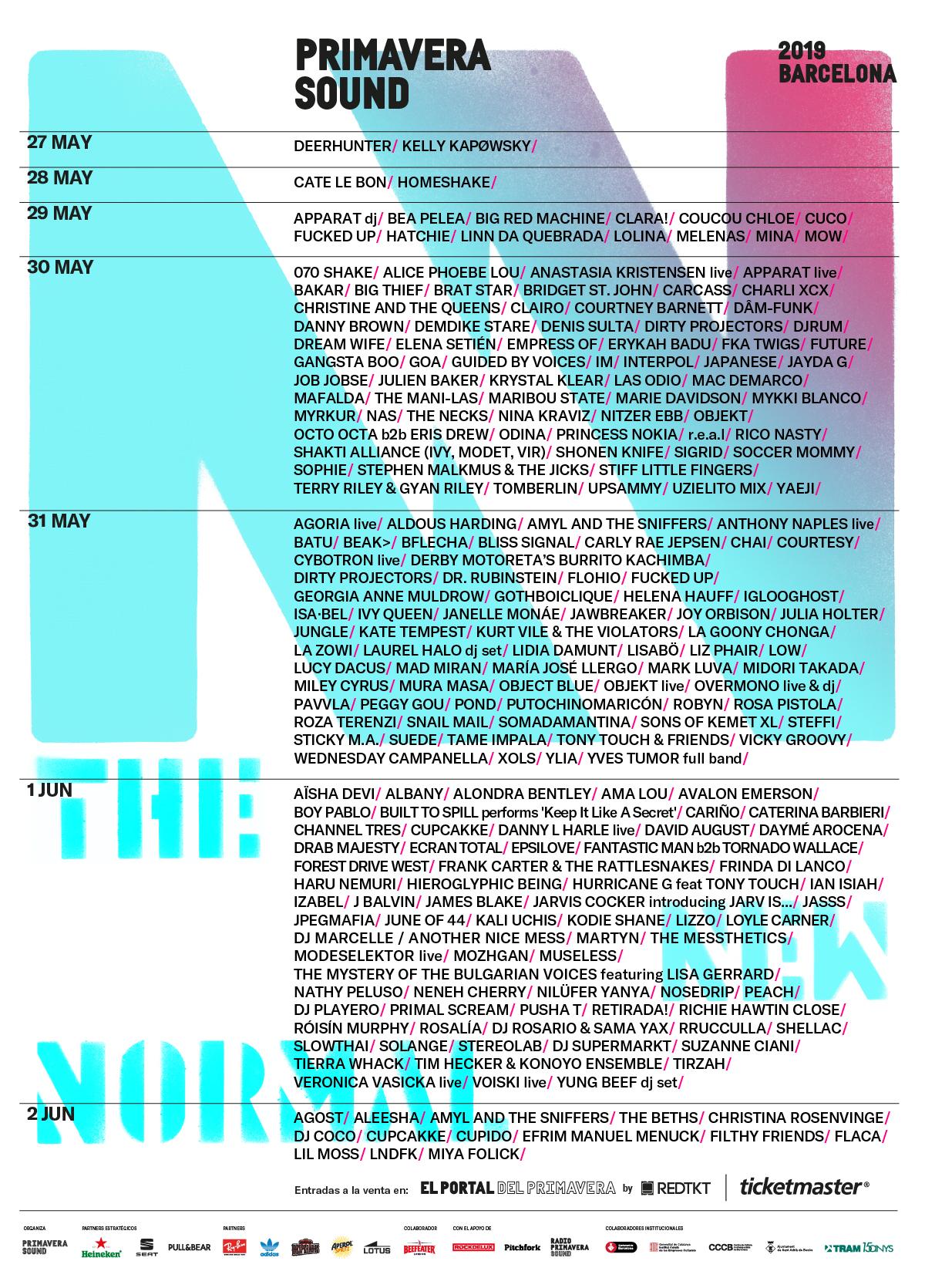 Primavera Sound poster 2019 lineup cartel