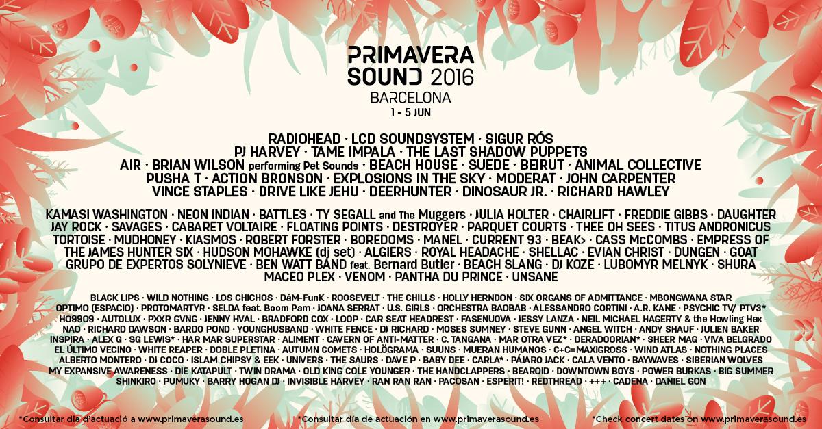 Primavera sound 2016 1 5 jun barcelona