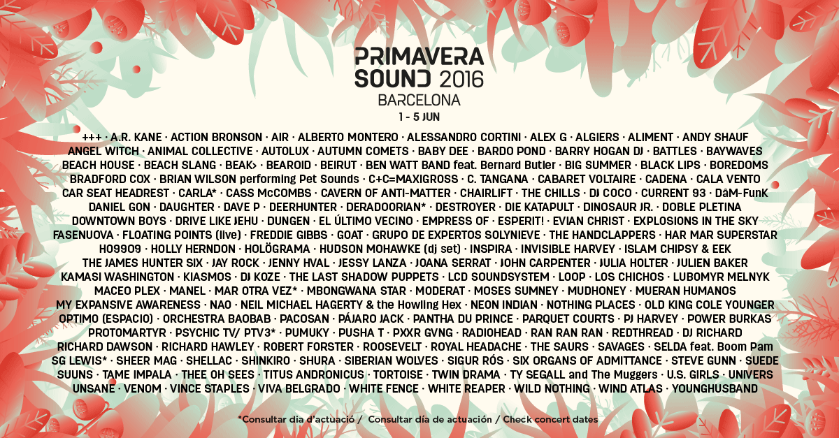 Line Up Primavera Sound 2015